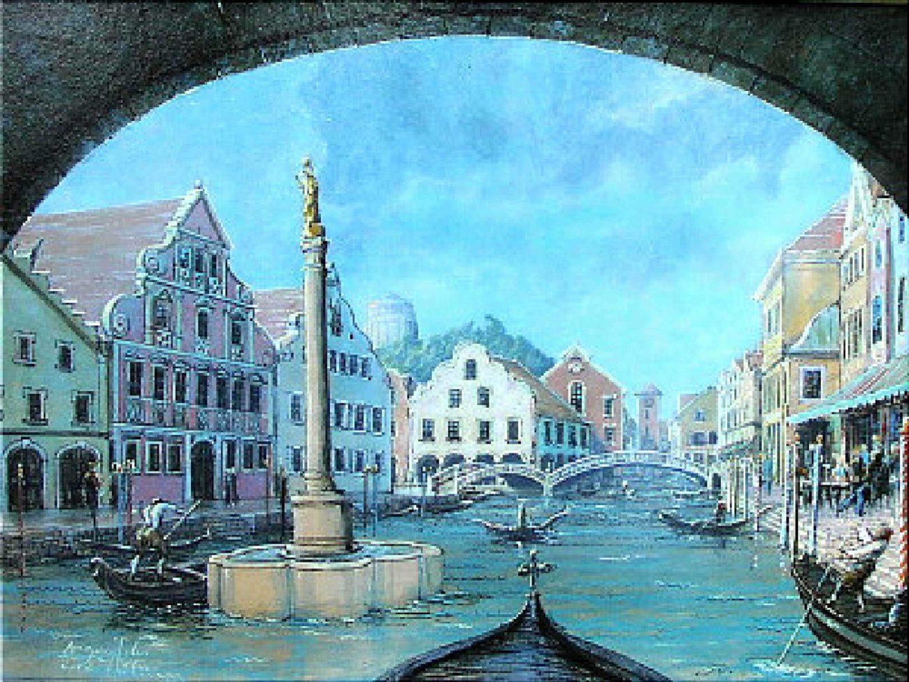 Canale Grande in Kelheim mit Befreiungshalle