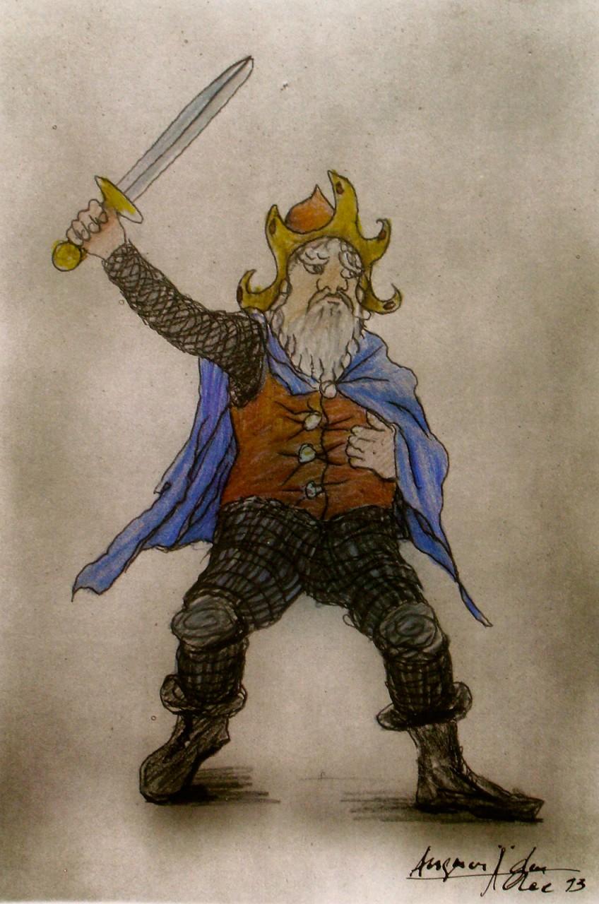 """Theaterwelturaufführung """"Der kleine Hobbit"""" nach J.R.R. Tolkien. Thorin im Theater für KInder in Hamburg."""