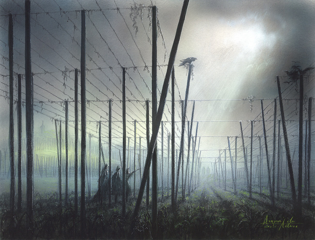 Novembernebel in den Hopfenfeldern - Auftragskunst