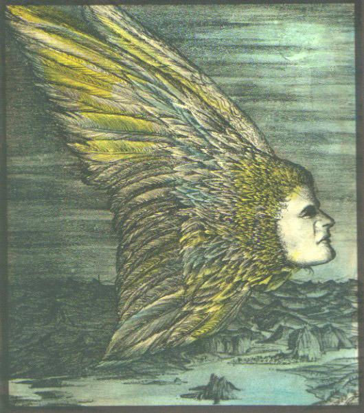 Flügelwesen, handcoloriert - verkäuflich