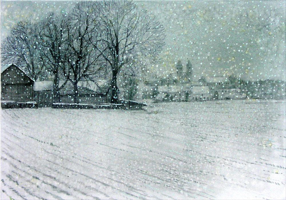 Schneetreiben in Biburg - verkäuflich