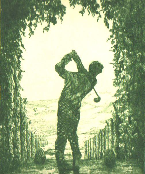 Ein Golfer am Golfplatz in der Holledau