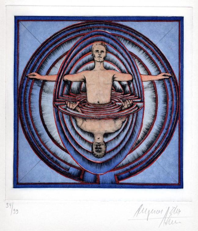 Die Welt als Labyrinth , Farbradierung - verkäuflich