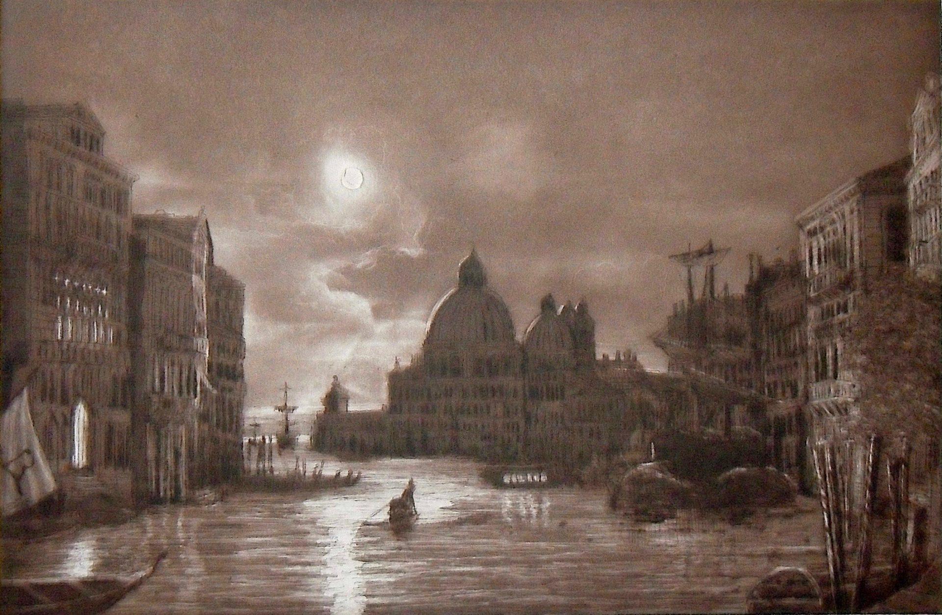 Venedig bei Nacht nach Friedrich Nerly-Auftragskunst-EA verkäuflich