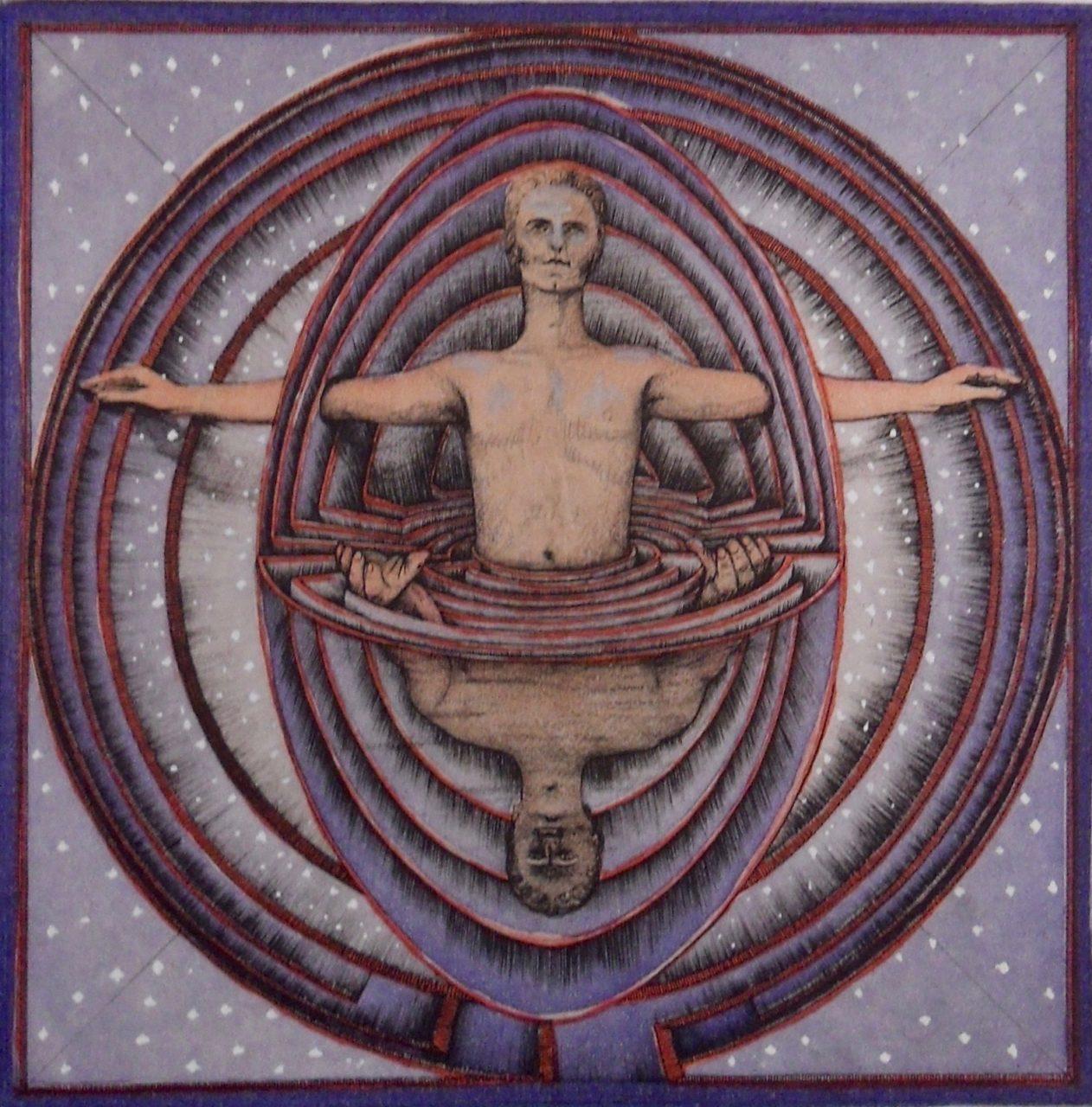 Die Welt als Labyrinth - Gustav Rene Hocke gewidmet - Radierung handcoloriert verkäuflich