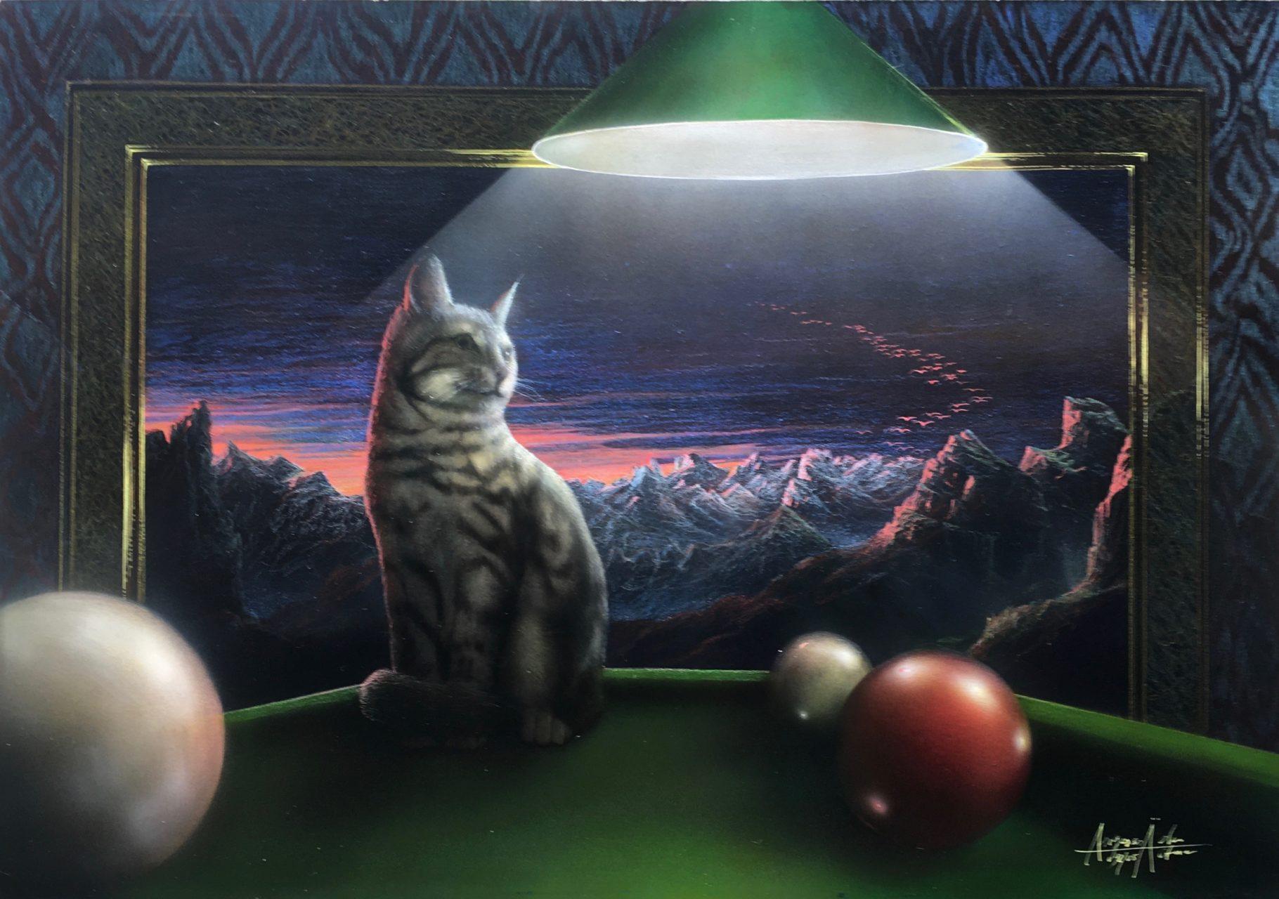 Katze auf dem Billardtisch