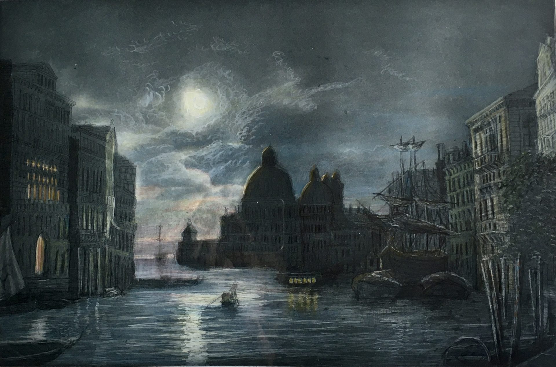 Venedig bei Nacht, handcoloriert - verkäuflich