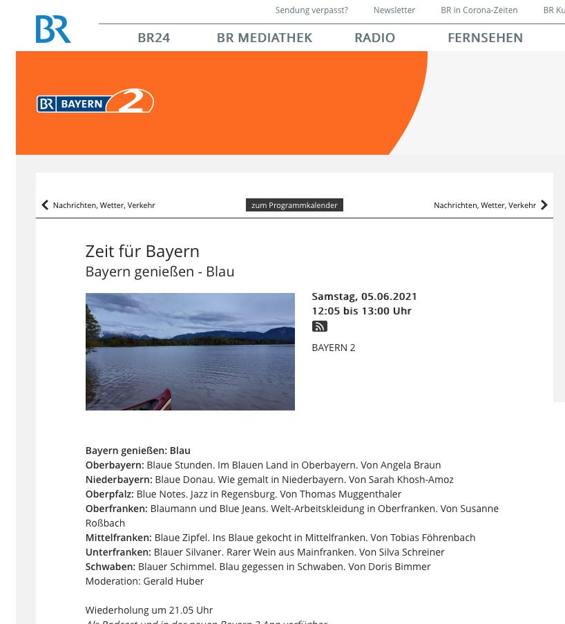 BR2 - Blau - Bayern genießen im Juni